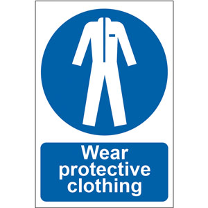 Mandatory Self-Adhesive PVC Sign (200 x 300mm) - Wear Protective Clothing