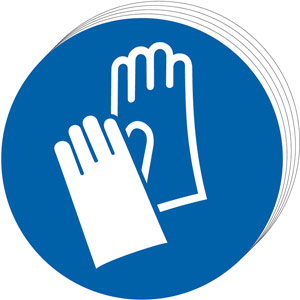 Mandatory Self-Adhesive Vinyl Sign (50mm) - Wear Gloves
