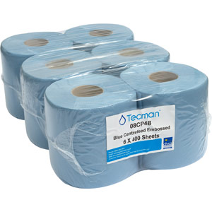 purely smile 2 ply centrefeed embossed rolls - blue (pack of 6 rolls)
