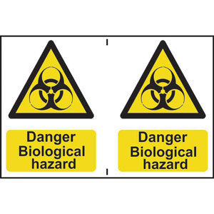 Hazard Warning Self-Adhesive PVC Sign (300 x 200mm) 2 signs per sheet - Danger Biological Hazard