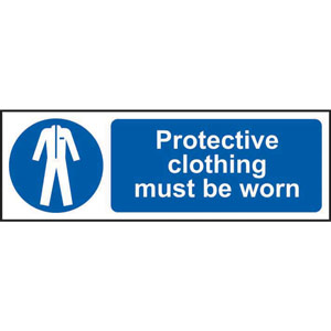 Mandatory Self-Adhesive Vinyl Sign (600 x 200mm) - Protective Clothing Must Be Worn