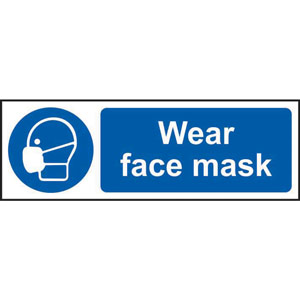 Mandatory Self-Adhesive Vinyl Sign (300 x 100mm) - Wear Face Mask