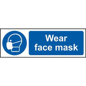 mandatory self-adhesive vinyl sign (600 x 200mm) - wear face mask