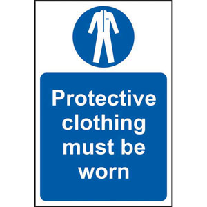 Mandatory Self-Adhesive Vinyl Sign (400 x 600mm) - Protective Clothing Must Be Worn