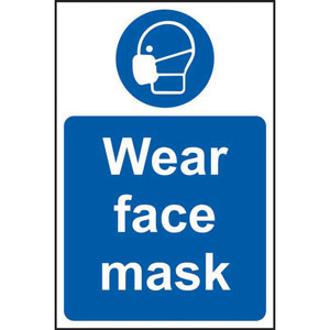 Mandatory Self-Adhesive Vinyl Sign (200 x 300mm) - Wear Face Mask