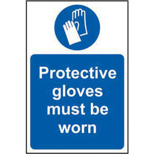 Mandatory Self-Adhesive Vinyl Sign (400 x 600mm) - Protective Gloves Must Be Worn
