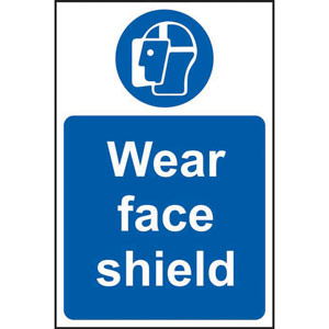 Mandatory Self-Adhesive Vinyl Sign (200 x 300mm) - Wear Face Shield