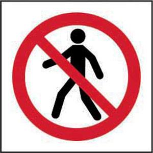 Prohibition Rigid PVC Sign (100 x 100mm) - No Thoroughfare Symbol