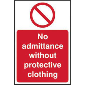 prohibition self-adhesive vinyl sign (200 x 300mm) - no admittance without protective clothing