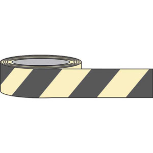 Black Chevron Photoluminescent Tape - 80mm x 10m