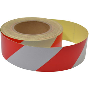 Red/White Reflective Tape - 50mm x 25m