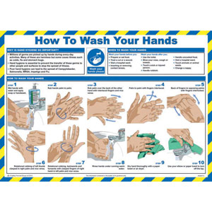 Safety Poster - How To Wash Your Hands - LAM (590 x 420mm)