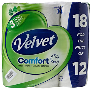 18 x Velvet Comfort Toilet Roll 2-Ply Tissue - 200 Sheets per Roll