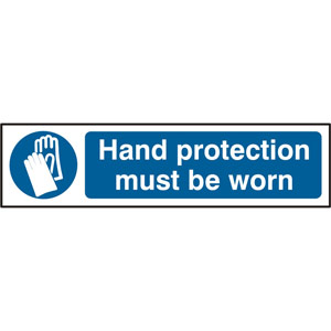 Mandatory Self-Adhesive PVC Sign (200 x 50mm) - Hand Protection Must Be Worn