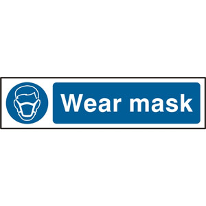Mandatory Self-Adhesive PVC Sign (200 x 50mm) - Wear Mask