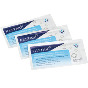 FastAid 70% Isopropyl Alcohol (IPA) Hand Disinfectant Sachet Wipes (8x50)