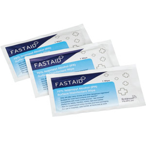 FastAid 70% Isopropyl Alcohol (IPA) Surface Disinfectant Sachet Wipes (8x50)