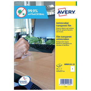 Avery Clear Removable Antimicrobial Film Labels 420x297mm A3 (Pack of 10) AM001A3-10