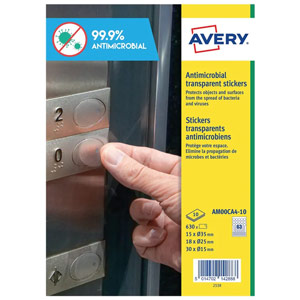 Avery Permanent Antimicrobial Film Labels Mix Circles A4 (Pack of 630) AM00CA4-10