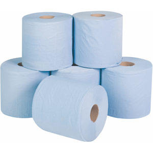 centre-feed single ply paper rolls (blue) - pack of 6