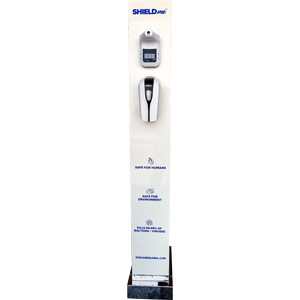 shieldme tower - sanitising dispenser with thermometer