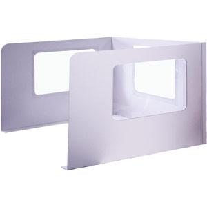 Cardboard Desk Booth, Clear APet Plastic Windows - 1150x900x600mm