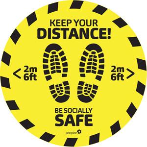 10 x floor stickers - advisory safe distance 2 metre