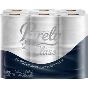 Purely Class Toilet Roll 2ply Domestic Supersoft Pack of 18