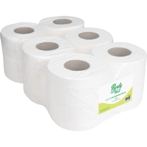 Purely Kind Centrefeed Rolls 2ply 100m White Pack of 6
