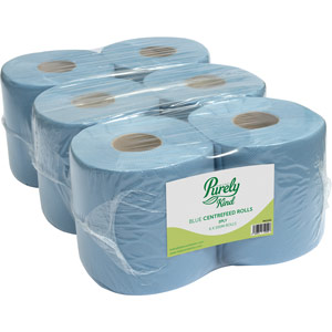 Purely Kind Centrefeed Rolls 2ply 100m Blue Pack of 6