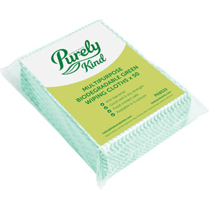 Purely Kind Eco Multipurpose Wiping Cloths Green Pack of 50