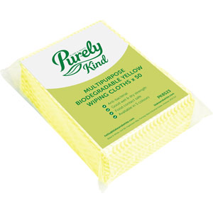 Purely Kind Eco Multipurpose Wiping Cloths Yellow Pack of 50