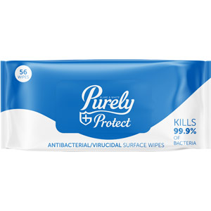 Purely Protect Antibacterial & Virucidal Surface Wipes (Pack of 56 wipes)