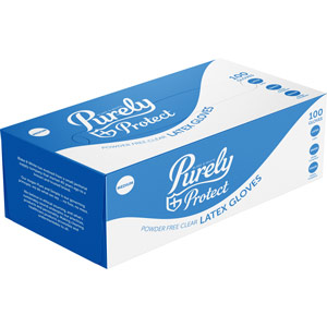 Purely Protect Latex Gloves Clear Medium Box of 100