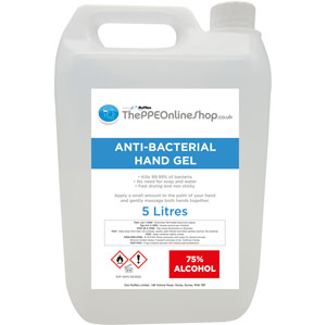 5 litre Hand Sanitiser Gel - Re-fill Bottle 75% Alcohol Kills 99.9% Bacteria