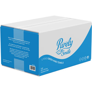 Purely Smile Hand Towels C Fold 1ply Green Case of 2400