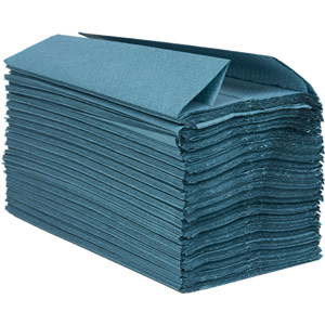 Purely Smile Hand Towels C Fold 1ply Blue Case of 2400