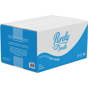 Purely Smile Toilet Paper Bulk Pack 2ply Recycled (Box of 9000 sheets)