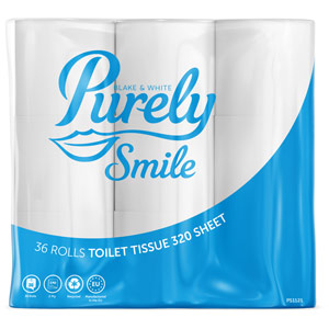 Purely Smile Toilet Roll 2ply 320 Sheet Pack of 36 (9 x 4)