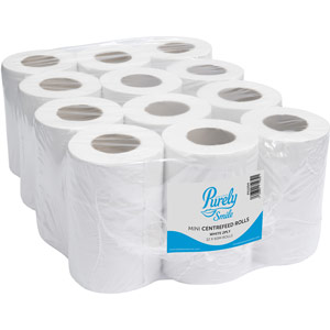 Purely Smile Mini Centrefeed Rolls 2ply 60m White Pack of 12