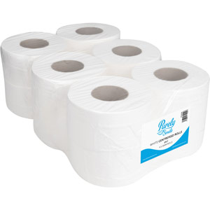 Purely Smile Centrefeed Rolls 1ply 300m White Pack of 6