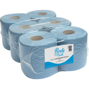 Purely Smile Centrefeed Rolls 1ply 300m Blue Pack of 6