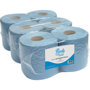 Purely Smile Centrefeed Rolls 2ply 150m Blue Pack of 6