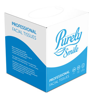 Purely Smile Cube Facial Tissues 2ply White Case of 24