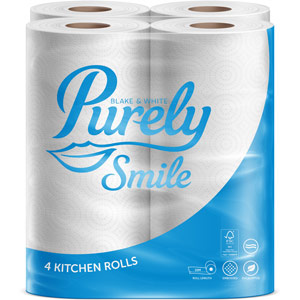 Purely Smile Kitchen Roll 2ply 10m White Pack of 4 Rolls
