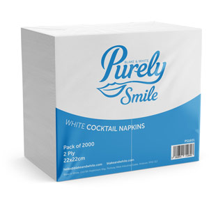 Purely Smile Cocktail Napkins 2ply 22cm White Case of 2000