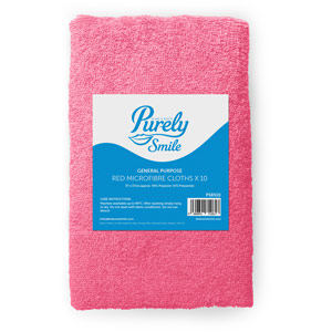 Purely Smile Microfibre Cloths Red Pack of 10