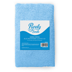 Purely Smile Microfibre Cloths Blue Pack of 10