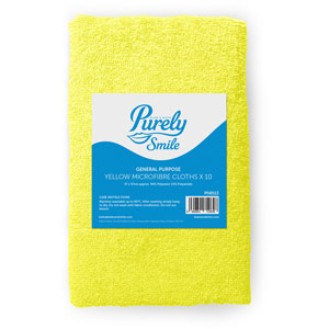 Purely Smile Microfibre Cloths Yellow Pack of 10
