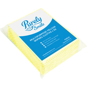 Purely Smile Multipurpose Wiping Cloths Yellow Pack of 50
